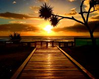 Восход солнца на побережье стоковое фото rf