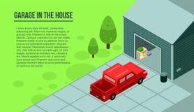 Гараж в знамени дома, равновеликий стиль бесплатная иллюстрация