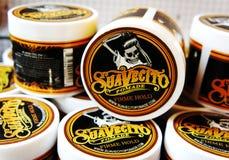 Гель для мужского дизайна - SuaVecito Владение firme pomade SuaVecito сильное ультрамодный дизайн парикмахерскаи стоковое изображение
