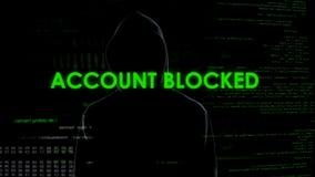 Гений кибер преграждая счет клиента банка, угрозу к финансовой безопасности стоковая фотография rf