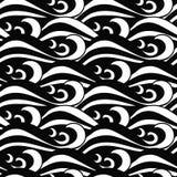 Гипнотическая безшовная черно-белая картина волн моря в традиционном японском стиле иллюстрация штока