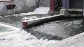 Гидроэлектростанция запруды ворота уровня воды в озере сток-видео