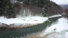 Глушь зимы на старой мельнице в Seward Аляске видеоматериал