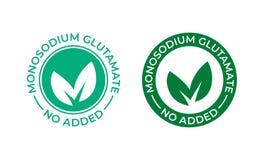 Глутамат не не добавил значок вектора Не содержите никакое уплотнение пакета еды мононатриевого глутамата MSG, зеленые лист иллюстрация вектора