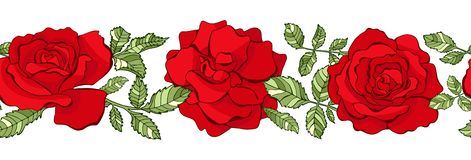 Граница вектора флористическая безшовная красные розы иллюстрация вектора