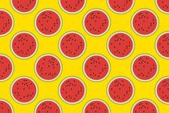 Графический арбуз на желтой предпосылке предпосылка цветастая обои делает по образцу безшовное иллюстрация штока