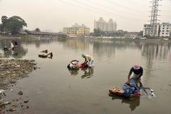 Грязная прачечная: Washerman моет одежды в загрязненной воде стоковое изображение
