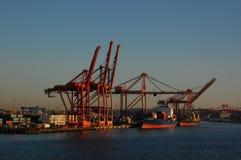 Грузя краны на портовом районе стоковое изображение rf
