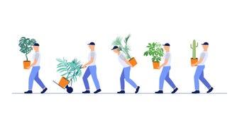 Vector illustration team of loaders deliver houseplants. Concept fast delivery goods. Isolated white background. Loader profession. Team of loaders deliver stock illustration
