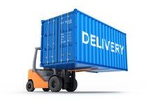 Грузоподъемник регулируя контейнер грузовых перевозок с доставкой надписи изолированный на белой предпосылке 3d для того чтобы пр иллюстрация штока