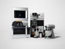 Группа в составе бытовые приборы для blender 3d кухонного комбайна микроволны кофеварки тостера кухни представить на серой предпо иллюстрация штока