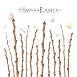 Гілка Баськи. Colorful Happy Easter greeting card with willow branches, and text. Easter background. Hand drawn  illustration Stock Illustration