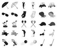 Гольф и атрибуты чернят, monochrome значки в установленном собрании для дизайна Сеть запаса символа вектора гольф-клуба и оборудо иллюстрация вектора