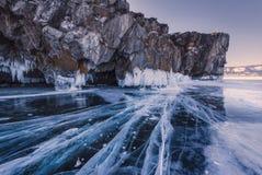 Голубой лед озера Baykal, России стоковое фото rf