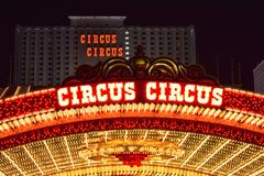 Гостиница цирка цирка & казино Лас-Вегас загорелись стоковая фотография