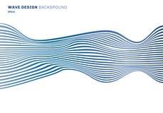 Горизонтальные прямые картины дизайна волны горизонтальных прямых конспекта голубые на белой предпосылке Оптически текстура искус иллюстрация штока