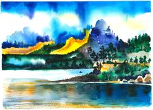 Горы и красивый лес около озера иллюстрация вектора