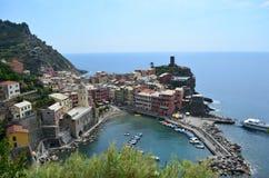 Городской пейзаж Vernazza в Cinque Terre Место всемирного наследия Unesco Лигурия Италия стоковое фото rf