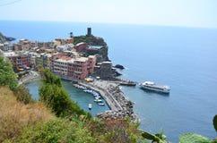 Городской пейзаж Vernazza в Cinque Terre Место всемирного наследия Unesco Лигурия Италия стоковое изображение