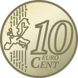 евро 10 монетки цента иллюстрация вектора