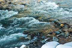 естественная предпосылка с водой, быстрым рекой горы стоковая фотография
