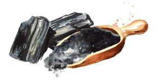 Естественный уголь Большие части и порошок Иллюстрация акварели нарисованная рукой, изолированная на белой предпосылке бесплатная иллюстрация