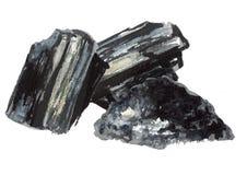 Естественный уголь Большие части и порошок Иллюстрация акварели нарисованная рукой изолированная на белой предпосылке бесплатная иллюстрация