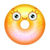 Желтый сияющий донут с усмехаться глаз Донут Emoji в градиенте иллюстрация штока