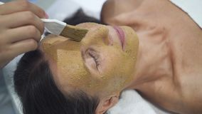 Женский мастер прикладывает особенное здравоохранение, медицинскую маску на стороне видеоматериал