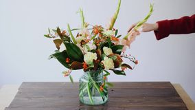 Женский флорист кладет цветки в стеклянную вазу и делать новые цветочные композиции Женщина комплектуя свежие цветки от коробки акции видеоматериалы
