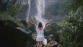 Женщина заднего взгляда счастливая молодая туристская с моментами оружий широкими открытыми наслаждаясь свободы на эпичном водопа видеоматериал