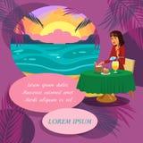 Женщина имея обедающий на элементе дизайна вектора пляжа иллюстрация штока