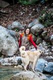 Женщина идет с 2 кавказскими собаками чабана в лесе стоковая фотография
