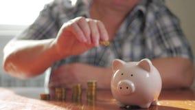 Женщина кладя монетку в копилку, сохраняя концепцию денег Будущие потребности одалживают образование или ипотечный кредит проводи сток-видео
