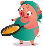 Женщина свиньи домохозяйки печет блинчики в лотке бесплатная иллюстрация