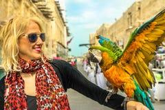 Женщина с попугаем стоковые изображения rf