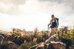 Женщина trekking вниз с холма стоковые изображения rf