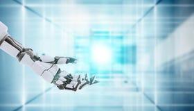 Жест показа руки робота, изолированный на белой предпосылке стоковые изображения rf