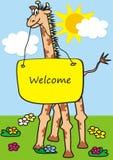 Жираф, значок вектора смешной стоковая фотография