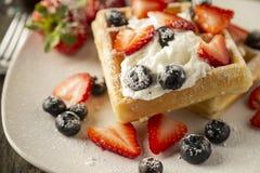 Завтрак бельгийской вафли стоковые фотографии rf