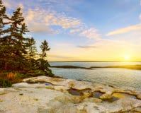 Завоевание Атлантического океана Скалистый берег и холодные деревья на скале на заходе солнца Мейн США Национальный парк Reid стоковое фото rf