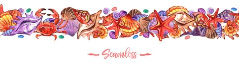 Заголовки Seashells в стиле акварели на белой предпосылке Иллюстрация лета безшовная картина тропическая иллюстрация вектора