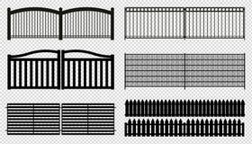 Загородка обшивает панелями - различные силуэты - иллюстрации вектора - изолированные на прозрачной предпосылке иллюстрация штока