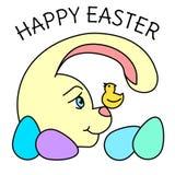 Зайчик пасхи цвета с яйцом, смотря небольшую птицу поя бесплатная иллюстрация