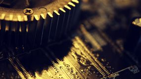 Закройте вверх радиотехнических схем в технологии на Mainboard, доске системы или mobo Материнская плата компьютера, электронные  стоковые фотографии rf