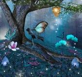 Заколдованное дерево в середине голубого леса бесплатная иллюстрация