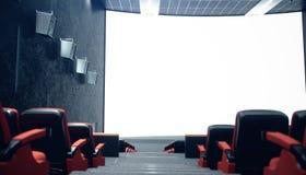 Зала кино с пустым экраном и свободными местами Современный дизайн с поражая освещением, неоновым освещением Аудиосистема на иллюстрация вектора