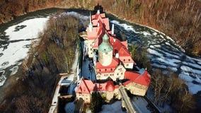 Замок Czocha в зиме сток-видео