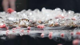 Замороженные ягоды ломая на стекло таблицы Поленика, который замерли в жидком азоте ломая в части Клубника Frosen сток-видео