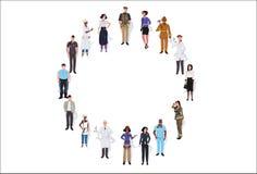 Занятие группы людей гонки смешивания различное стоя совместно в знамени женских работников круга мужском полнометражном горизонт иллюстрация штока